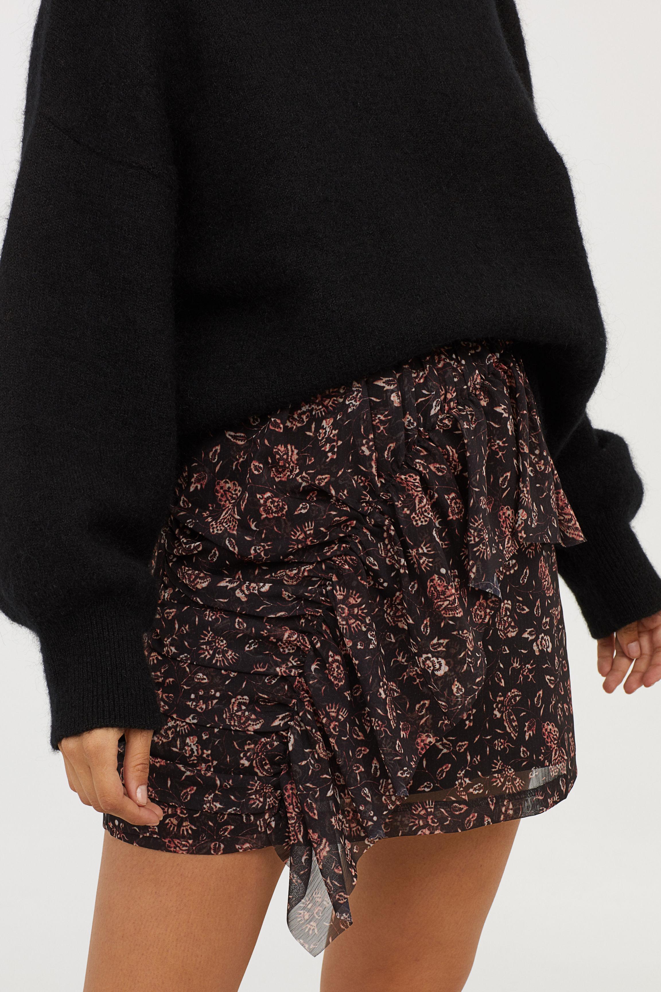 Draped Skirt - Black/patterned - Ladies | H&M US
