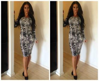 dress zebra print tight midi dress brunette heels