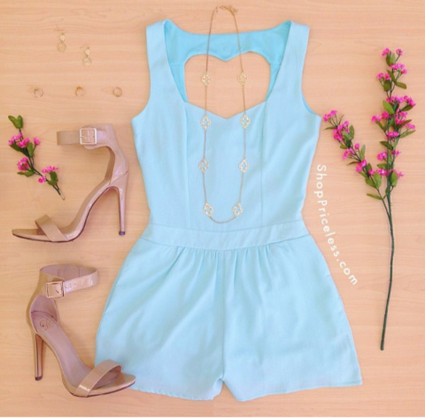 jumpsuit sky blue blue summer heart open back shoes romper blue romper
