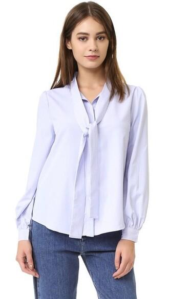 blouse tie front white blue top