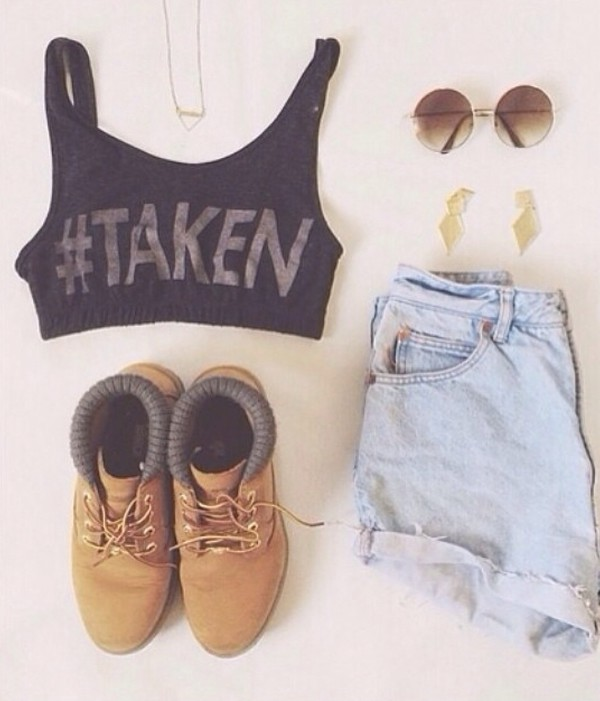 top crop tops High waisted shorts summer girly cute clothes denim shorts round sunglasses quote on it boots festival jewels forever 21 shorts shoes sunglasses