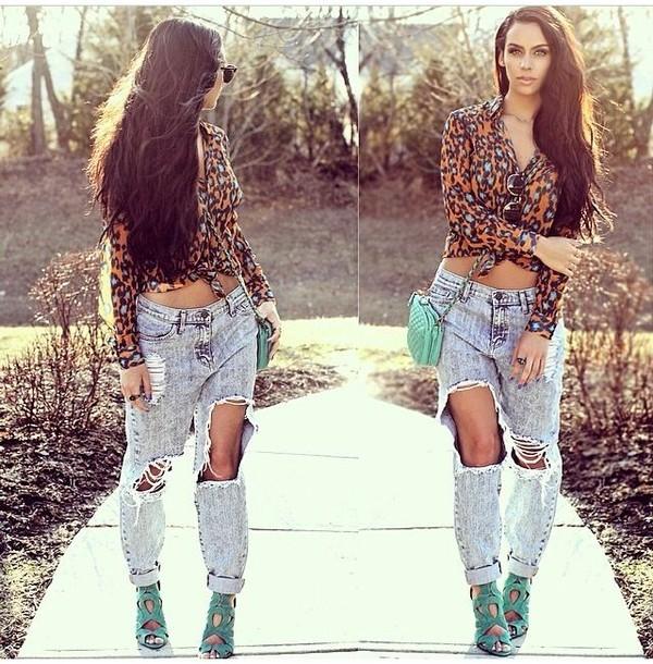 jeans blouse orange and blue leopard print carli bybel
