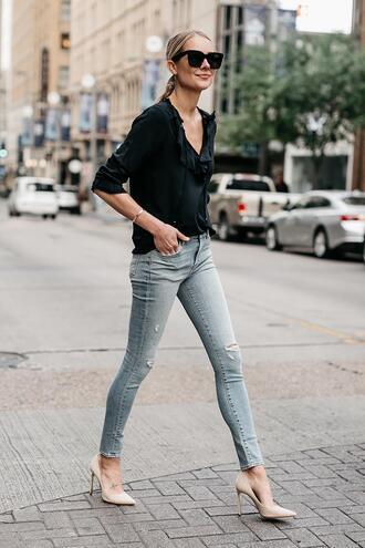 fashionjackson blogger top jeans shoes blouse black blouse high heel pumps pumps skinny jeans
