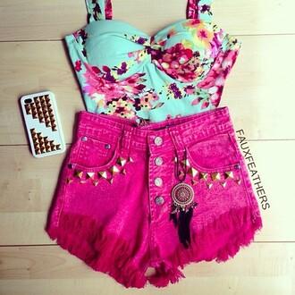 shirt bustier floral jewels tank top bralette corset dyed shorts dreamcatcher studded shortss studded studs shorts