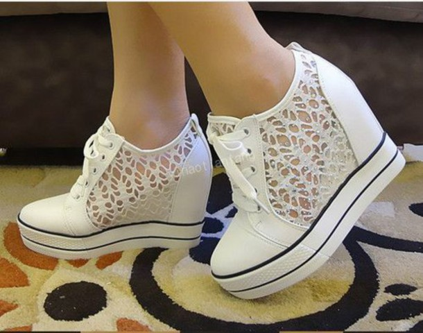 Shoes white black lace high heels high cute sporty girly cutenice cool korean fashion Korean fashion style shoes