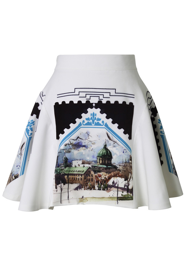 skirt scenic view white skater