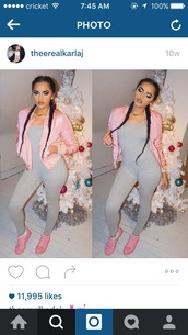 coat,pink,jacket,bomber jacket,pink bomber jacket,winter outfits,jumper,grey,onesie,bodysuit,tennis shoes,sneakers,adidas,adidas shoes,pink shoes,pink sneakers,baby pink,jumpsuit,spaghetti strap,black,vue boutique,grey jumpsuit,one piece,light pink