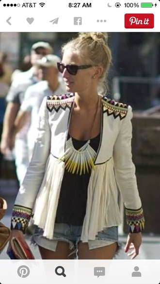 jacket blue black green white jacket aztec tribal pattern boho chic blazer white blazer aztec jacket tribal jacket yellow purple coat
