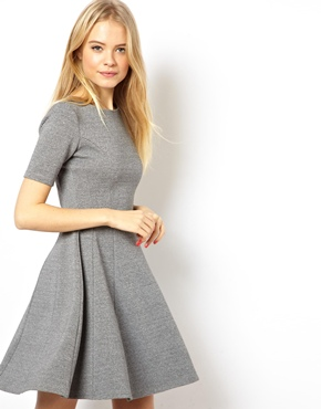 ASOS | ASOS Structured Skater Dress In Heavy Rib at ASOS