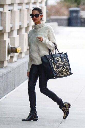 shoes white oversized sweater sunglasses black jeans studded shoes blogger