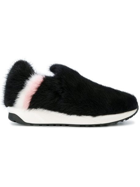 fur women loafers leather black shoes