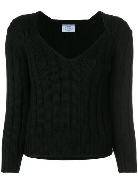 Prada sweater women black wool knit