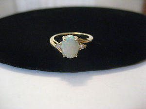 Fine Vintage 14k Yellow Gold Round Natural Opal Diamond Ring | eBay