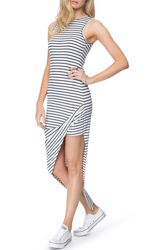 dress zaful striped dress black and white stripe dress long dress slit dress