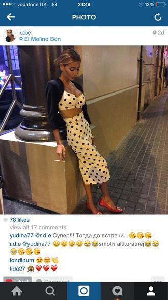 dress crop top bustier high waisted skirt polka dot skirt