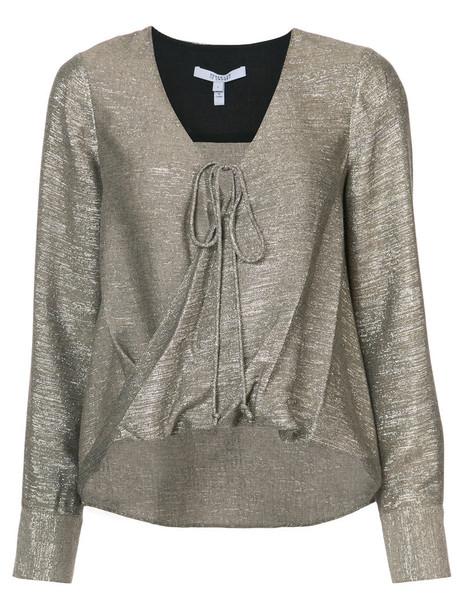 Derek Lam 10 Crosby - Long Sleeve Drape Front Blouse - women - Polyamide/Polyester/Viscose/Wool - 12, Yellow/Orange, Polyamide/Polyester/Viscose/Wool