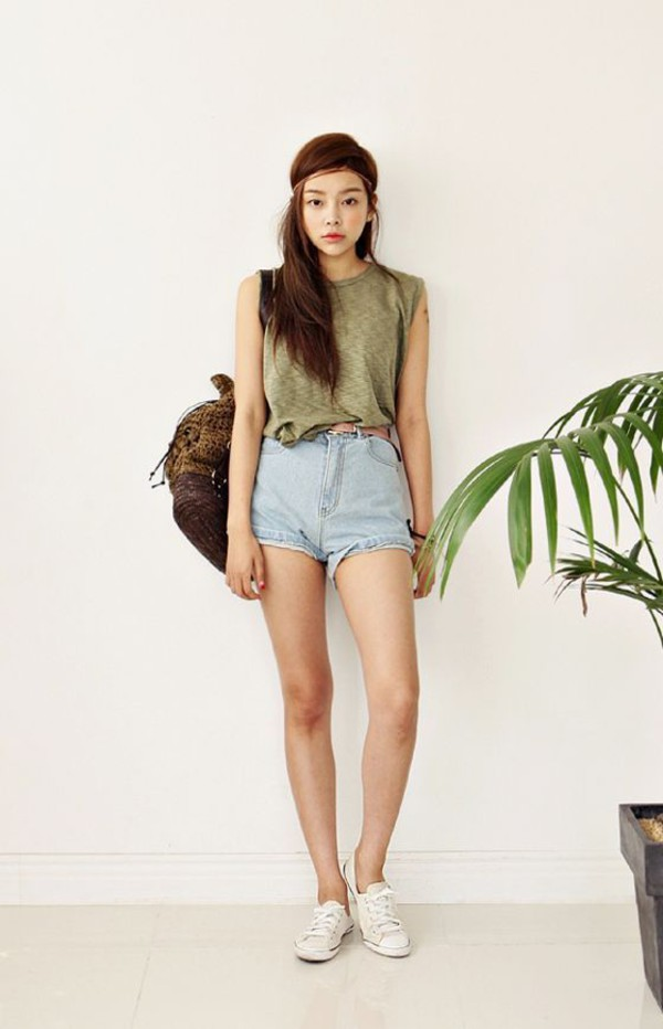 Olive Green High Waisted Shorts - Shop for Olive Green High ...