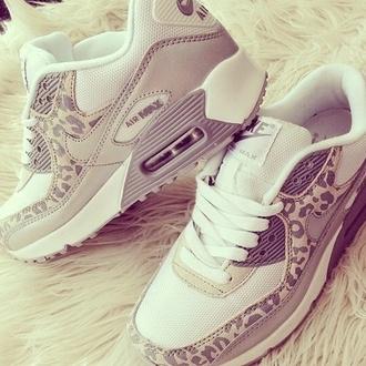 shoes nike nike air max 90 cheetah print white and gray tennis shoes