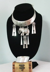 jewels,silver elephant necklace set