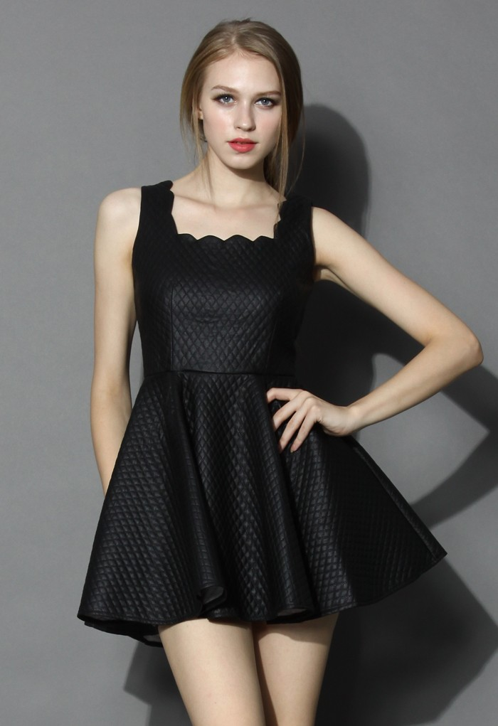 Honey Scroll Twilled Skater Dress in Black - Retro, Indie and Unique Fashion