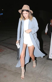 blue coat,light blue,long coat,fedora,duster coat,nude heels,strappy heels,cute outfits,white romper,date outfit,blue long coat,shoes,kylie jenner,kardshian,nude high heels,nude sandals,coat,peep toe boots,kardashians,blue,white,romper,celebrity style