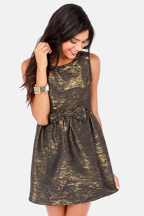 Pretty Gold Dress - Black Dress - Metallic Dress - $47.00