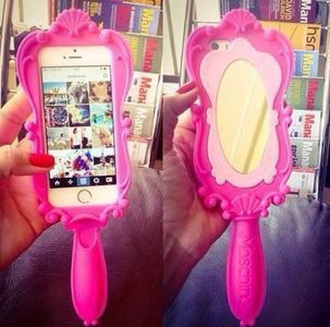 phone cover pink mirror fashion