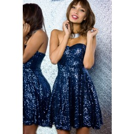 Blue sequined strapless dress