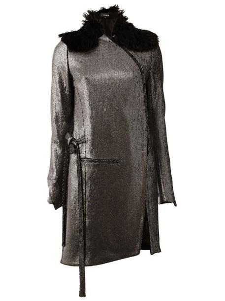 coat metallic women leather cotton wool grey