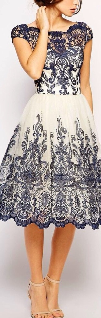 dress white blue dress lace dress printed dress