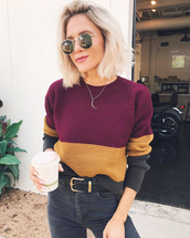 sweater,tumblr,knit,knitted sweater,stripes,striped sweater,belt,jeans,denim,black jeans,sunglasses,burgundy,yellow,multicolor,jordan kemper,forever 21,color block sweatshirt,it's maroon yellow and black