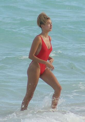 swimwear one piece swimsuit red red swimwear hailey baldwin summer beach model off-duty