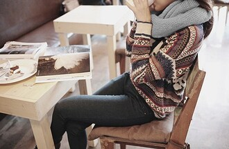 sweater stripes pattern warm fall autumn pinterest hipster triangles cozy oversized sweater boyfriend sweater