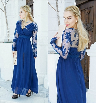 dress blue lace maxi dress pretty elegant fashionista prom gala mesh girl blonde hair stylemoi spring summer hair cute classy feminine blogger fashion slit