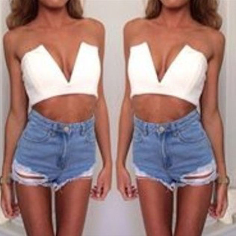 New Women Trends Sexy Strapless Deep V Neck T Shirt Crop Blouse Tops Black White | eBay