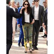 pants,printed pants,kristen stewart,yellow,print,colorful prints,colorful pants