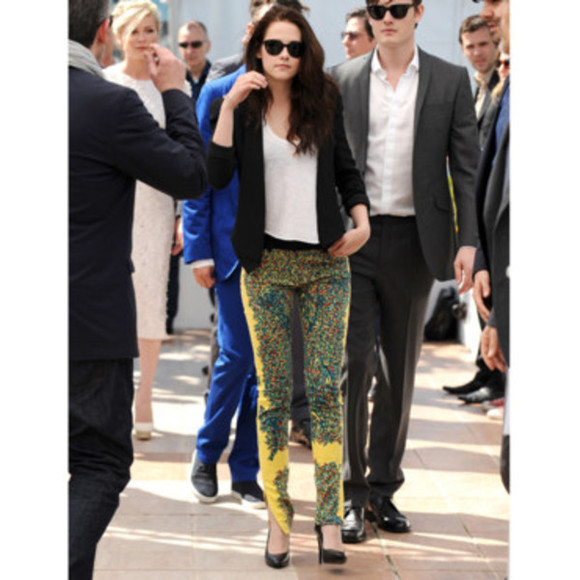 kristen stewart pants yellow printed pants prints colorful prints colorful pants