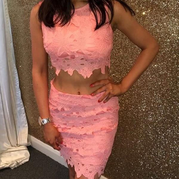 laced dress peach dress