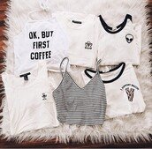 top,white,t-shirt,different cands,crop tops,shirt,tumblr,grunge,black,coffee,alien,brandy melville,ghost