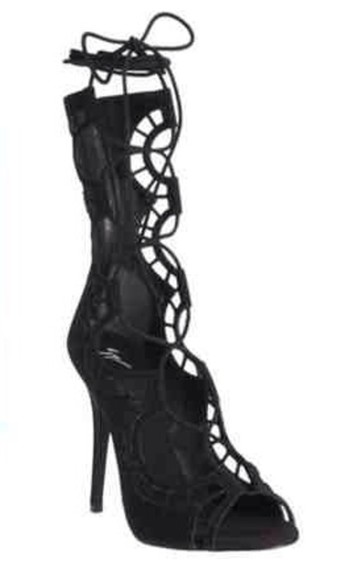 high heels shoes black peep toe suede shoes cut-out lace up giuseppe zanotti details fashion statement
