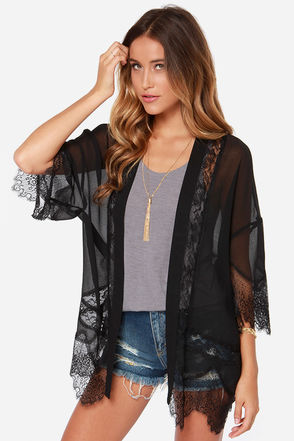 Rambling Rose Black Lace Kimono Top