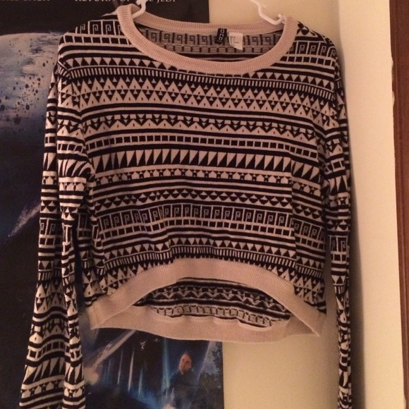 H&m aztec crop sweater from katherine's closet on poshmark