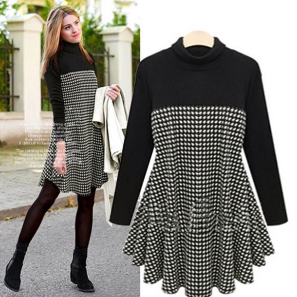 dress black and white check swing turtleneck long sleeves