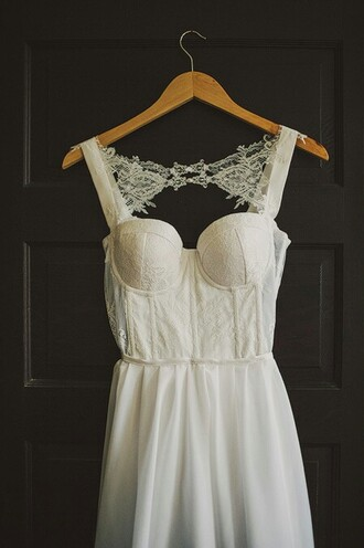 dress lace dress wedding dress wedding bustier dress white dress straps corset back corset back wedding dresses indie lace details lace detailed dress long dress hipster wedding love
