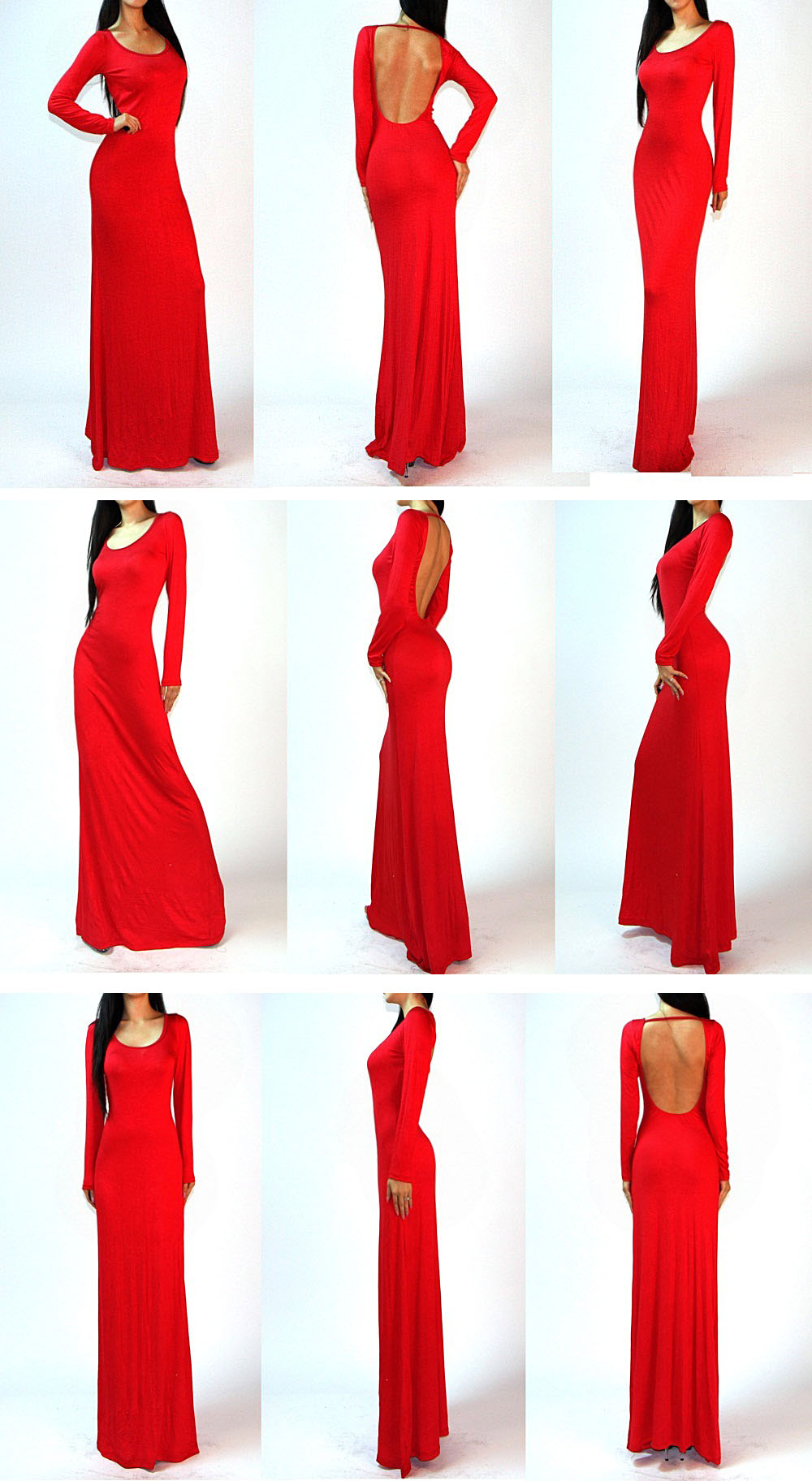 Sexy Long Sleeves Backless Open Cutout Back Slip Jersey Long Maxi Dress s M L | eBay