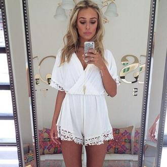 jumpsuit white dress glamour fashion underwear white romper white lace playsuit white romper