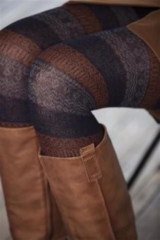 pants leggings printed leggings aztec leggings tights brown leather boots make-up