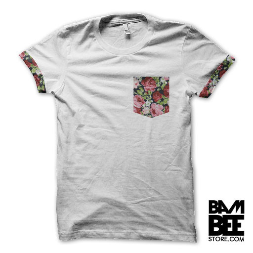 Dark floral pocket sleeves t