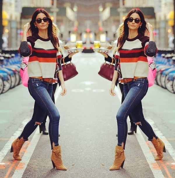 sweater lily aldridge fall outfits fall sweater ankle boots jeans model off-duty streetstyle