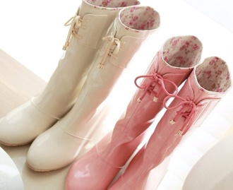 shoes wellies cream rain boots tie up floral inside wellies
